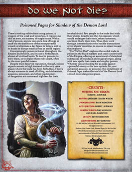 Do We Not Die: Poisoned Pages for Shadow of the Demon Lord RPG