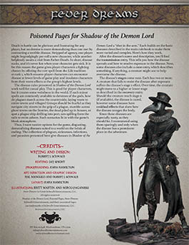 Fever Dreams: Poisoned Pages for Shadow of the Demon Lord RPG