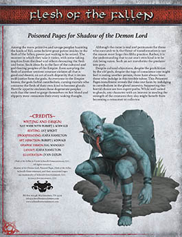 Flesh of the Fallen: Poisoned Pages for Shadow of the Demon Lord RPG