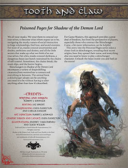 Tooth and Claw: Poisoned Pages for Shadow of the Demon Lord RPG