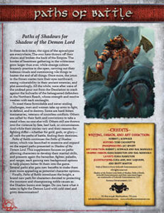 Paths of Battle for Shadow of the Demon Lord RPG