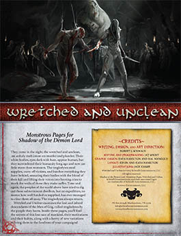 Wretched and Unclean: Monstrous Pages for Shadow of the Demon Lord RPG