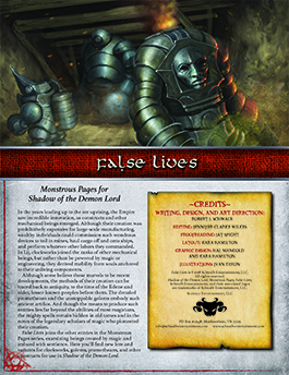 False Lives: Monstrous Pages for Shadow of the Demon Lord
