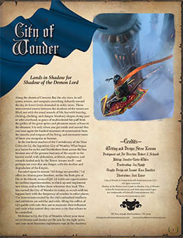 City of Wonder: Lands in Shadow for Shadow of the Demon Lord RPG