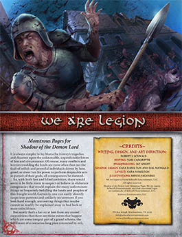 We are Legion: Monstrous Pages for Shadow of the Demon Lord RPG