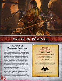 Paths of Purpose: Paths of Shadow for Shadow of the Demon Lord RPG
