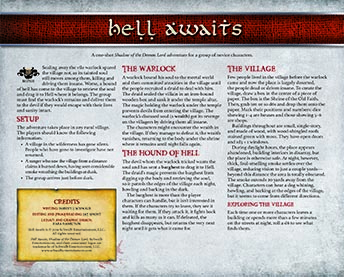 Hell Awaits | Novice Adventure for Shadow of the Demon Lord RPG